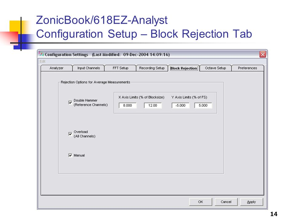 14 ZonicBook/618EZ-Analyst Configuration Setup – Block Rejection Tab