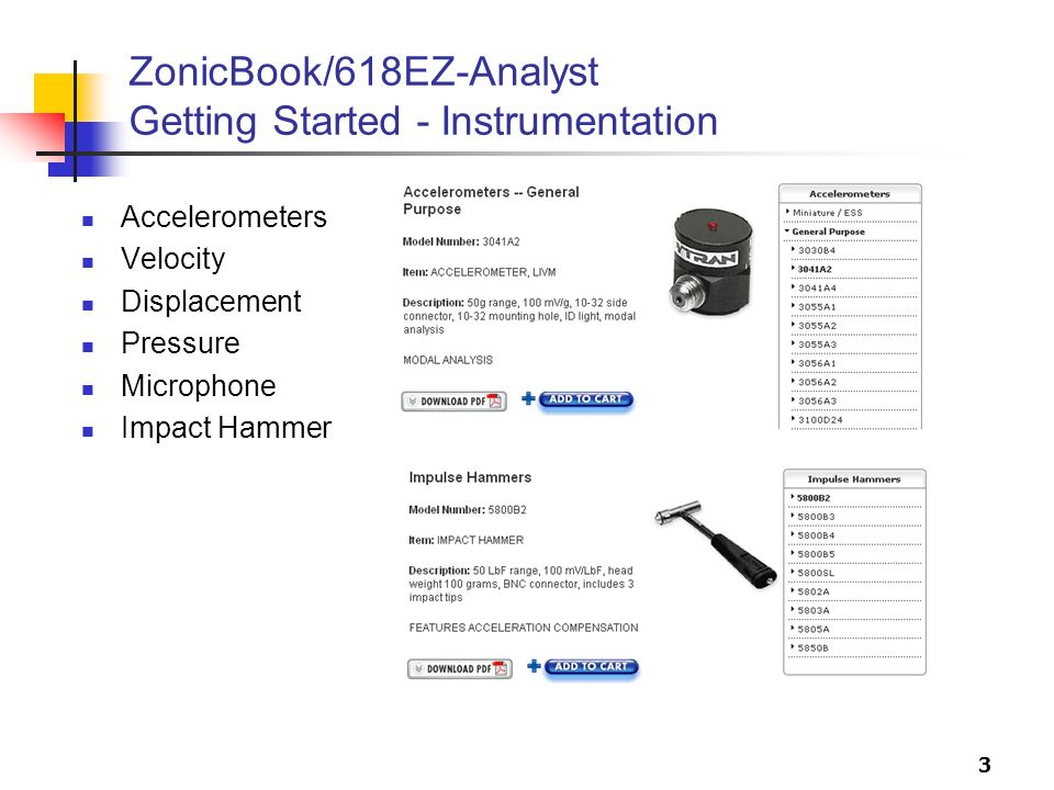 3 ZonicBook/618EZ-Analyst Getting Started - Instrumentation Accelerometers Velocity Displacement Pressure Microphone Impact Hammer