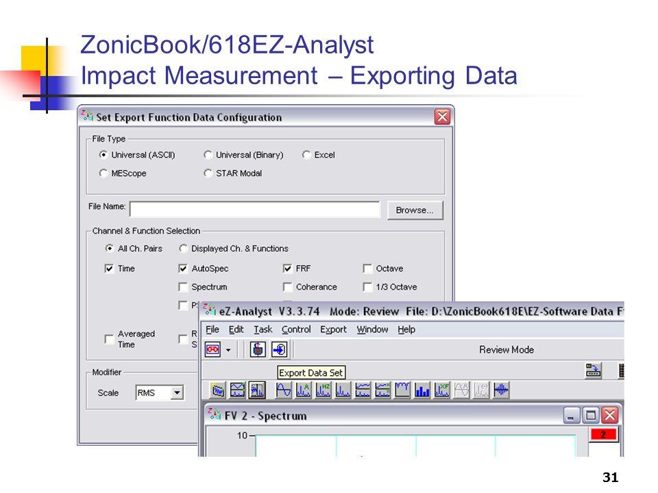 31 ZonicBook/618EZ-Analyst Impact Measurement – Exporting Data