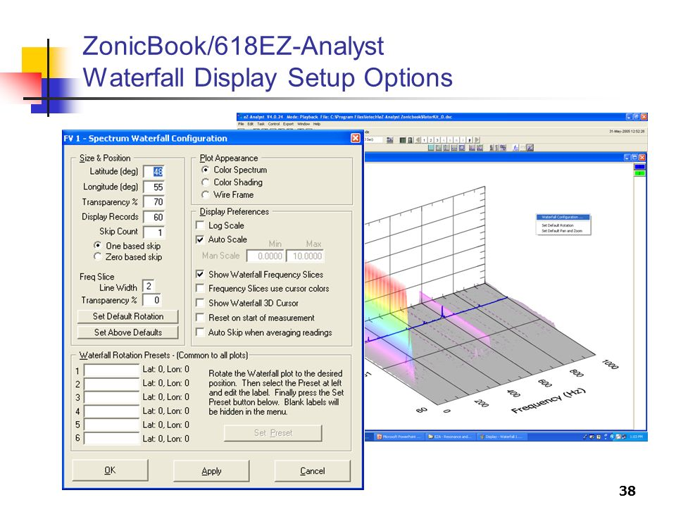 38 ZonicBook/618EZ-Analyst Waterfall Display Setup Options