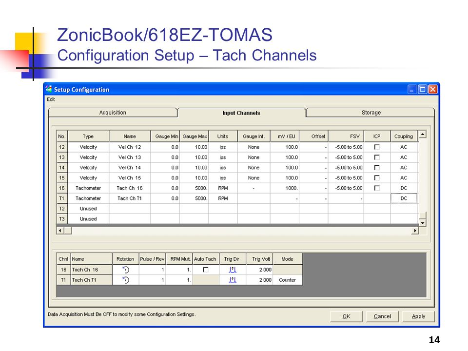 14 ZonicBook/618EZ-TOMAS Configuration Setup – Tach Channels