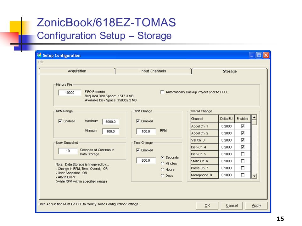 15 ZonicBook/618EZ-TOMAS Configuration Setup – Storage