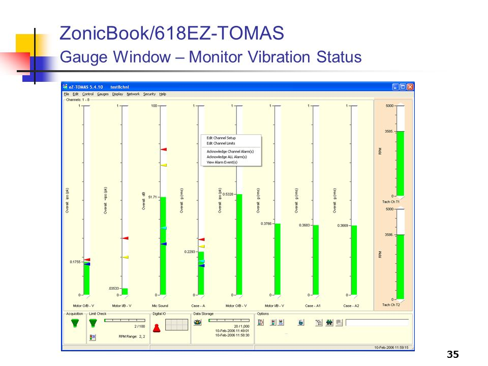 35 ZonicBook/618EZ-TOMAS Gauge Window – Monitor Vibration Status