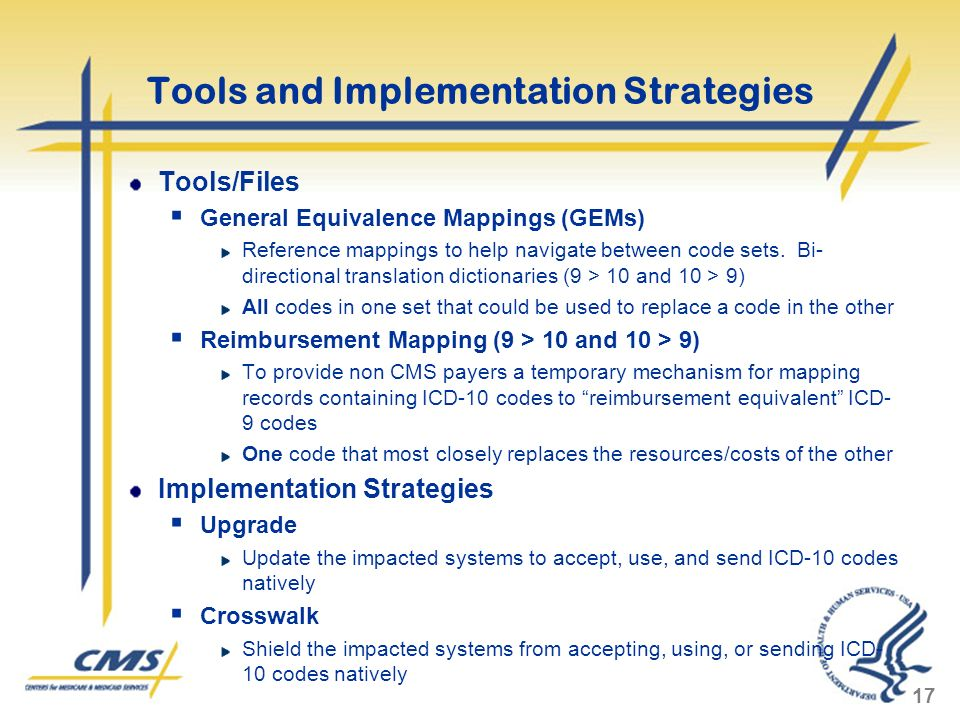 Tools and Implementation Strategies Tools/Files General Equivalence Mappings (GEMs) Reference mappings to help navigate between code sets. Bi- directi