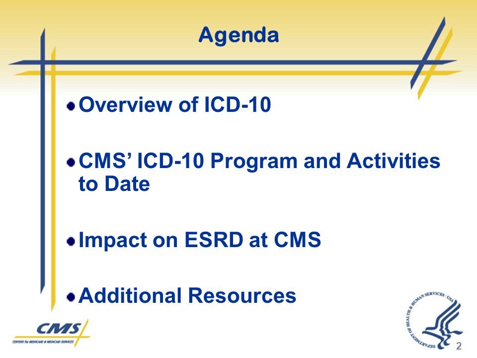 2 Agenda Overview of ICD-10 CMS ICD-10 Program and Activities to Date Impact on ESRD at CMS Additional Resources