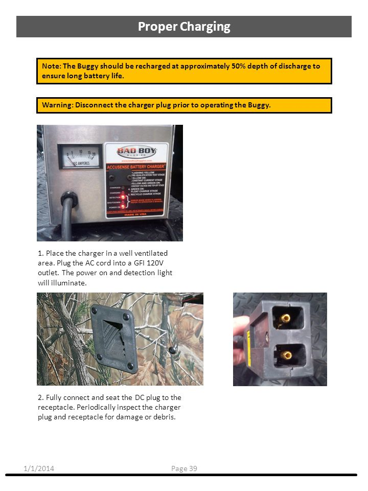 1/1/2014 1. Place the charger in a well ventilated area. Plug the AC cord into a GFI 120V outlet. The power on and detection light will illuminate. No