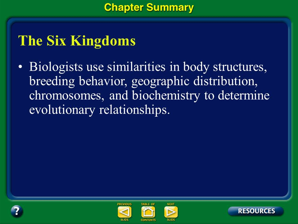 Chapter Summary – 17.1 Classification provides an orderly framework in which to study the relationships among living and extinct species. Classificati
