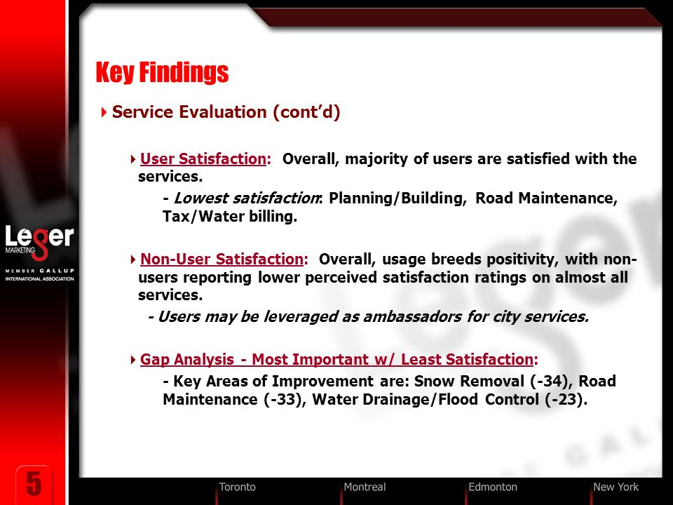 5 Key Findings Service Evaluation (contd) User Satisfaction: Overall, majority of users are satisfied with the services.