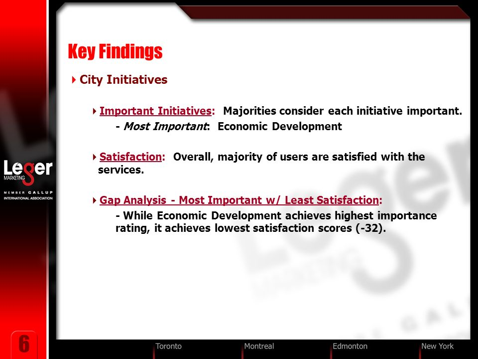 6 Key Findings City Initiatives Important Initiatives: Majorities consider each initiative important.