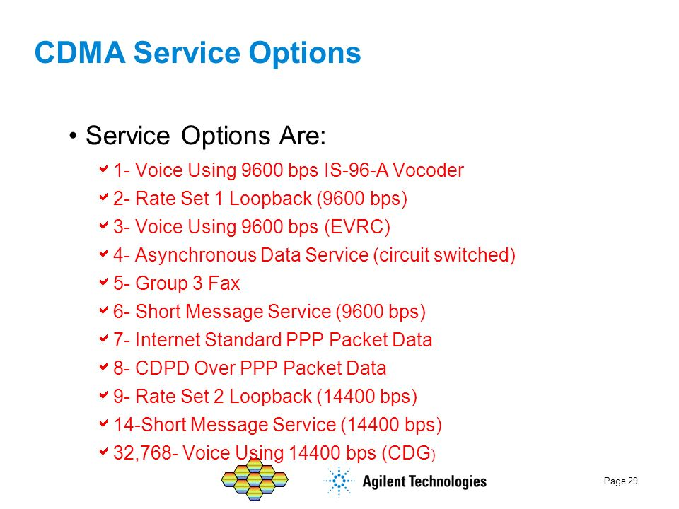 Page 29 CDMA Service Options Service Options Are: 1- Voice Using 9600 bps IS-96-A Vocoder 2- Rate Set 1 Loopback (9600 bps) 3- Voice Using 9600 bps (E