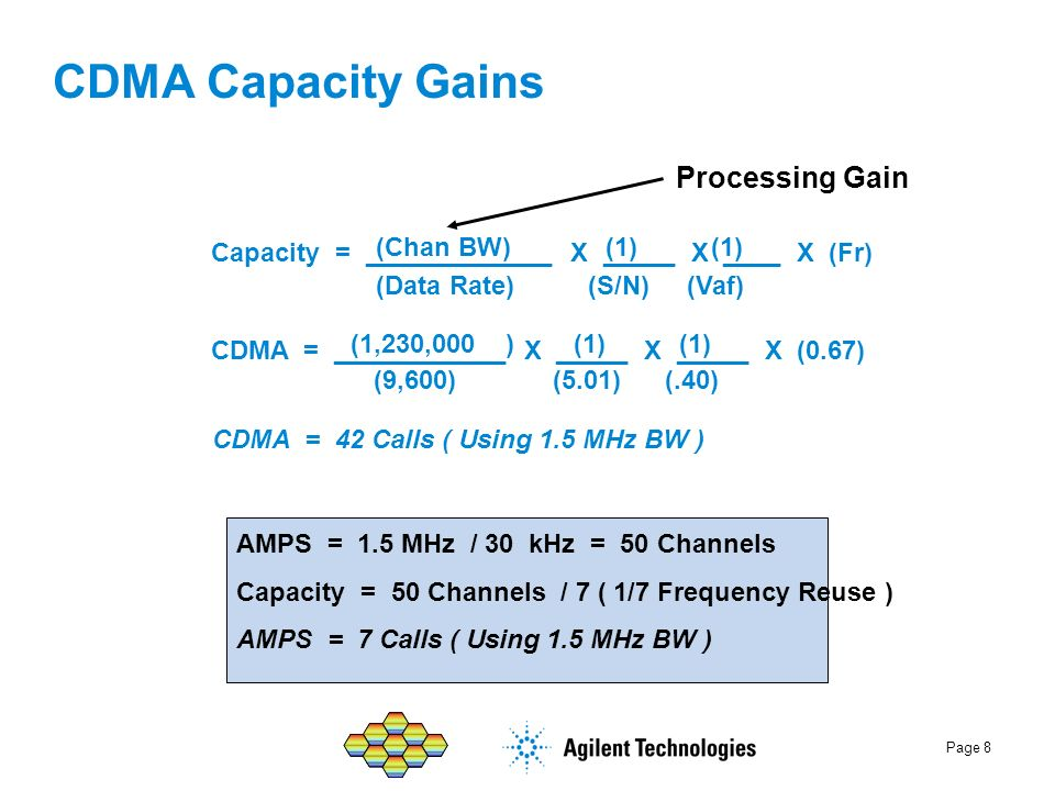Page 8 Processing Gain AMPS = 1.5 MHz / 30 kHz = 50 Channels Capacity = 50 Channels / 7 ( 1/7 Frequency Reuse ) AMPS = 7 Calls ( Using 1.5 MHz BW ) CD
