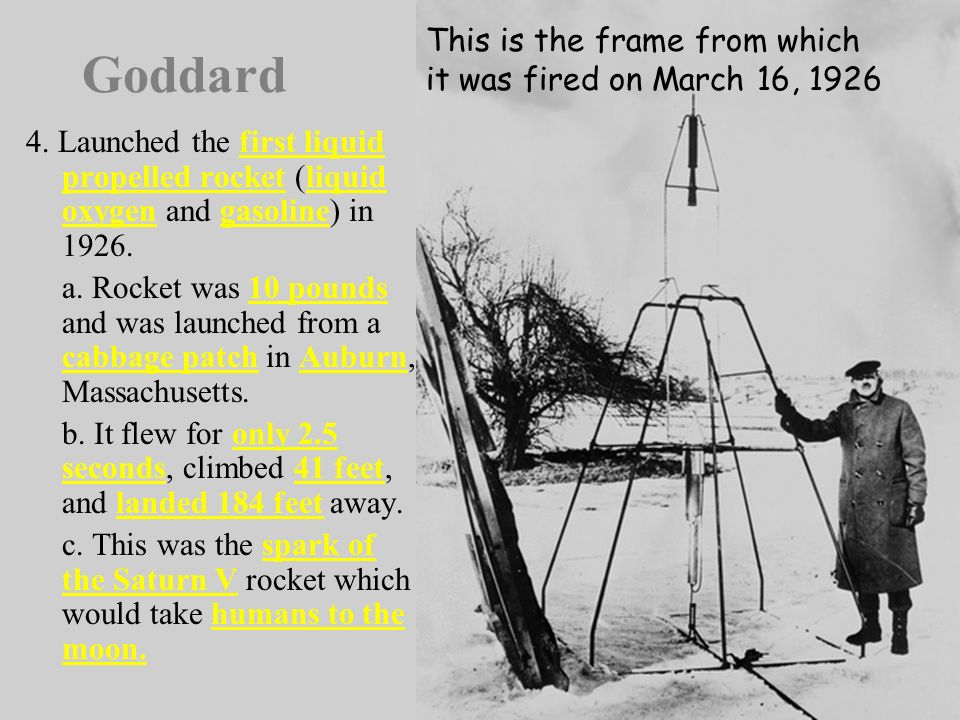 V. Robert H. Goddards Contributions 1. Known as the father of American Rocketry. 2. In his 1919 pamphlet, Goddard stated that a rocket operates with g