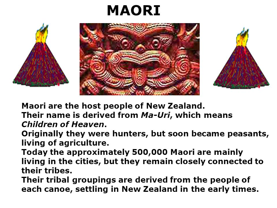 MAORI Maori are the host people of New Zealand.