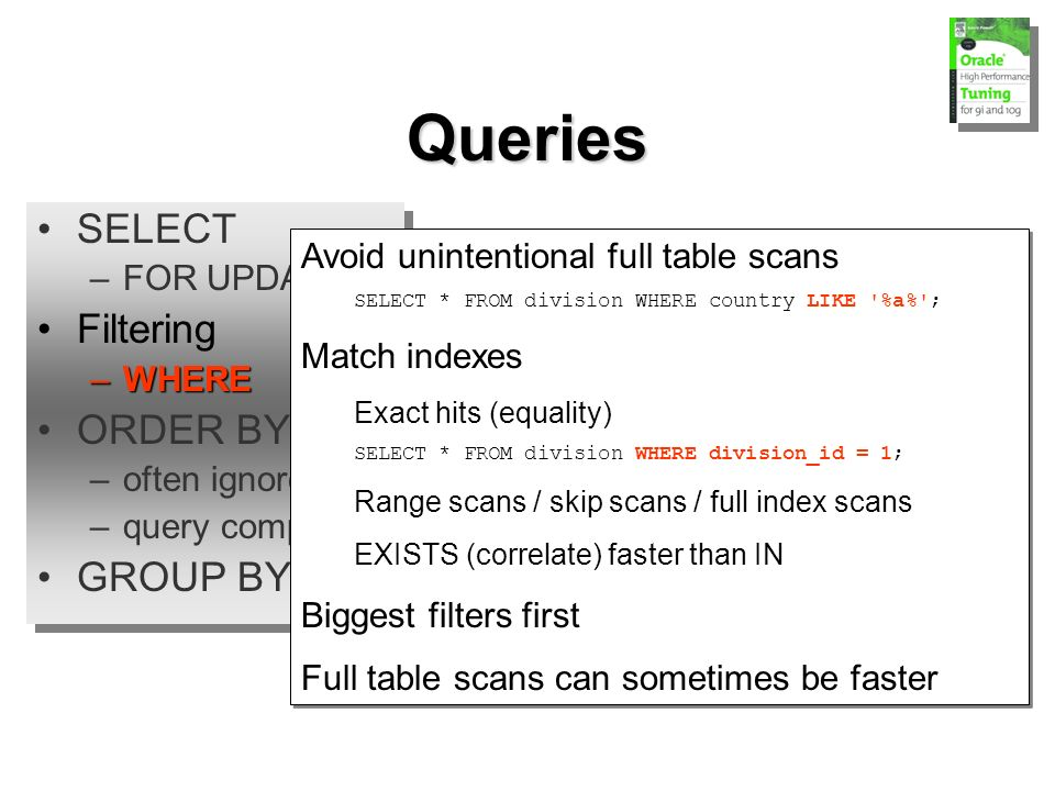 SELECT –FOR UPDATE Filtering –WHERE ORDER BY –often ignored –query complexity GROUP BY SELECT –FOR UPDATE Filtering –WHERE ORDER BY –often ignored –query complexity GROUP BY Queries Avoid unintentional full table scans SELECT * FROM division WHERE country LIKE %a% ; Match indexes Exact hits (equality) SELECT * FROM division WHERE division_id = 1; Range scans / skip scans / full index scans EXISTS (correlate) faster than IN Biggest filters first Full table scans can sometimes be faster Avoid unintentional full table scans SELECT * FROM division WHERE country LIKE %a% ; Match indexes Exact hits (equality) SELECT * FROM division WHERE division_id = 1; Range scans / skip scans / full index scans EXISTS (correlate) faster than IN Biggest filters first Full table scans can sometimes be faster