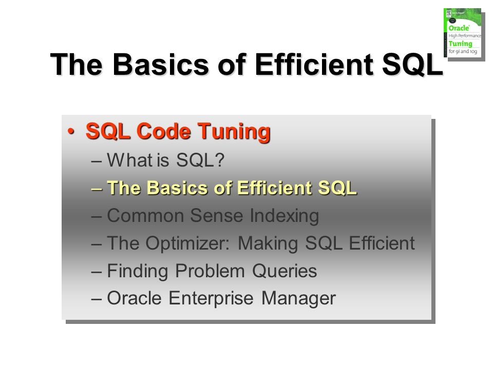 The Basics of Efficient SQL SQL Code TuningSQL Code Tuning –What is SQL.
