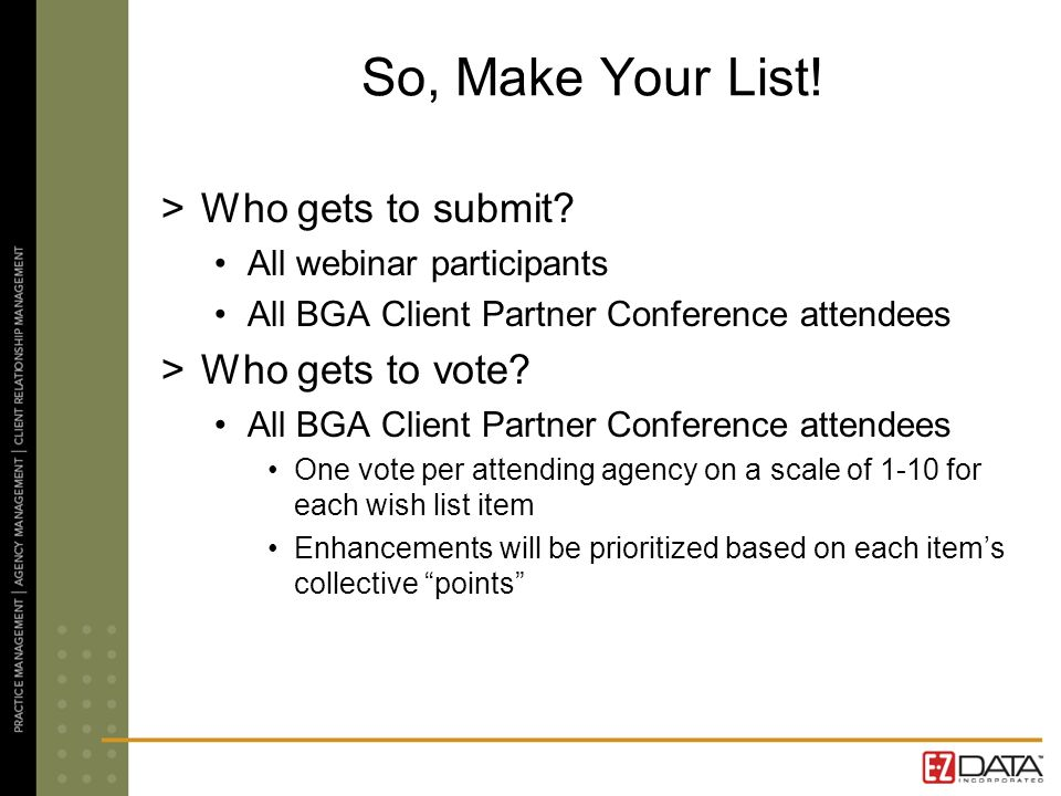 So, Make Your List! >Who gets to submit? All webinar participants All BGA Client Partner Conference attendees >Who gets to vote? All BGA Client Partne
