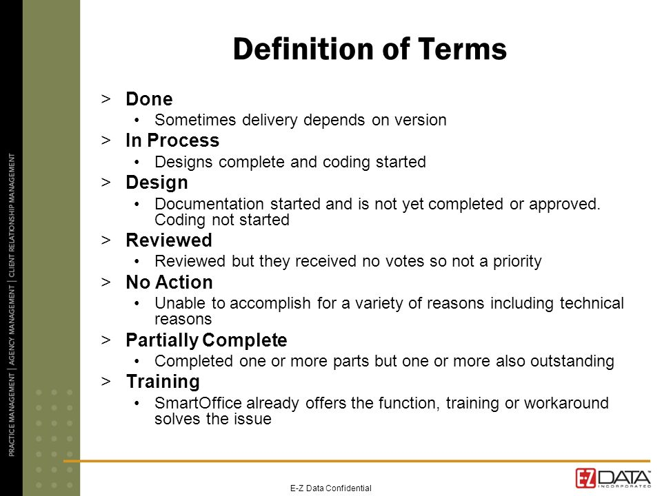 E-Z Data Confidential Definition of Terms >Done Sometimes delivery depends on version >In Process Designs complete and coding started >Design Document