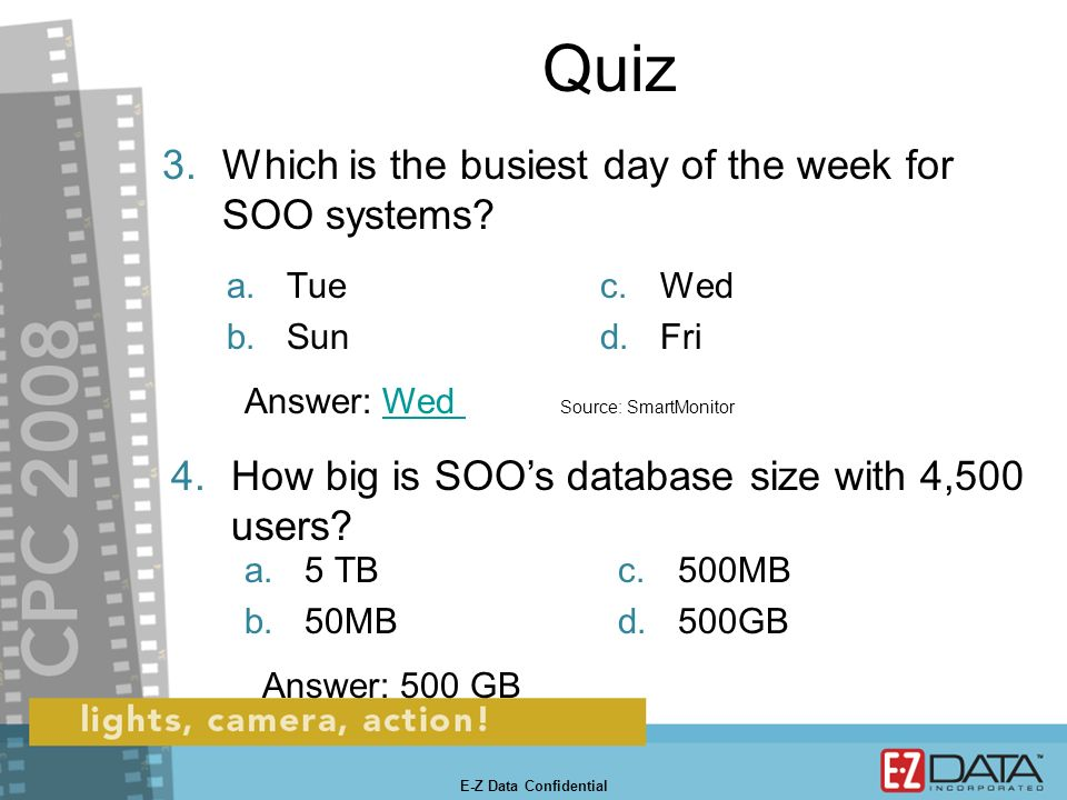 Quiz 1.What was SmartOffice Online (SOO)s uptime during business hours in 2007 E-Z Data Confidential a.