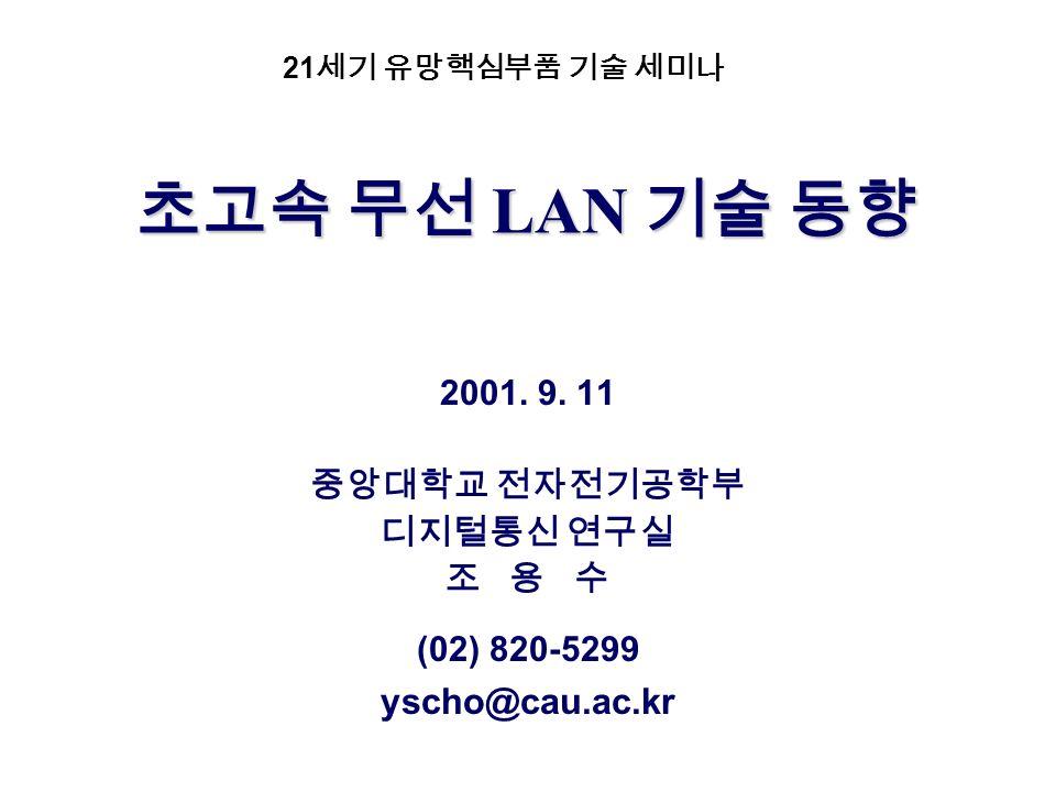 LAN LAN 2001. 9. 11 (02) 820-5299 yscho@cau.ac.kr 21
