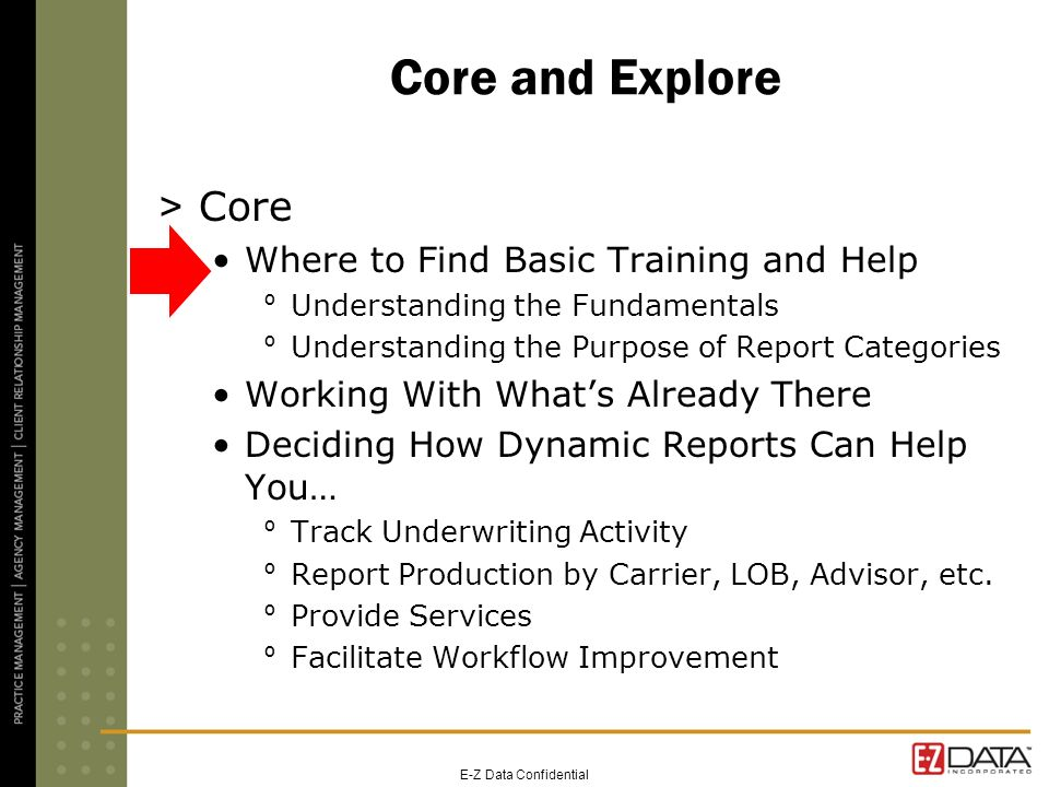 Core and Explore > Core Where to Find Basic Training and Help º Understanding the Fundamentals º Understanding the Purpose of Report Categories Workin