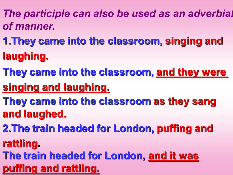 The participle can also be used as an adverbial of manner.