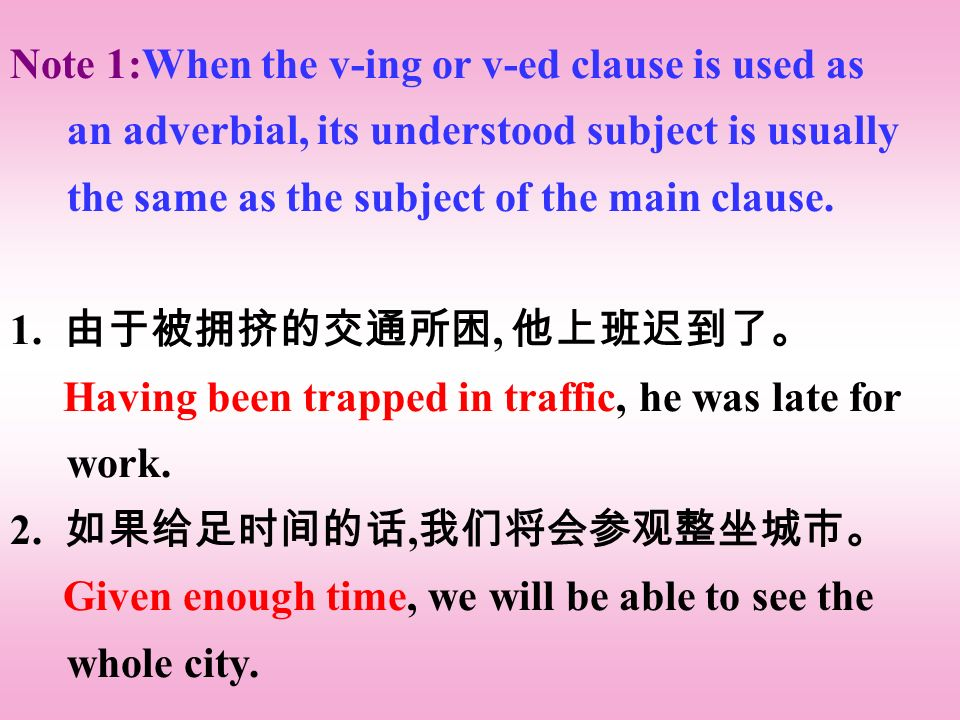 Note 1:When the v-ing or v-ed clause is used as an adverbial, its understood subject is usually the same as the subject of the main clause.
