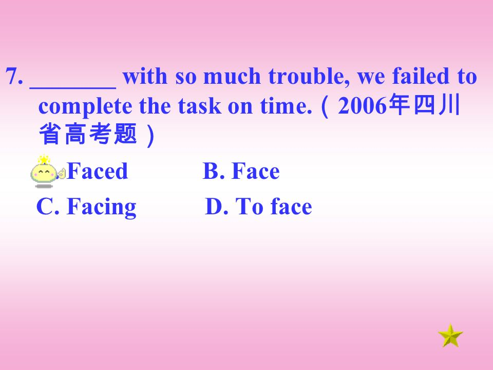 7. _______ with so much trouble, we failed to complete the task on time.
