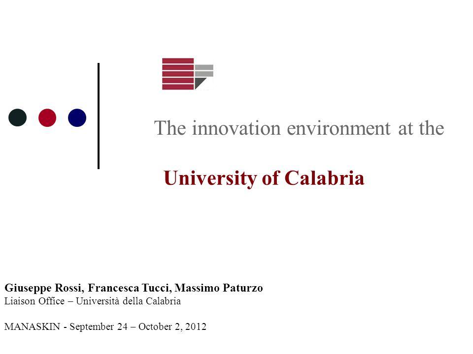 Giuseppe Rossi, Francesca Tucci, Massimo Paturzo Liaison Office – Università della Calabria MANASKIN - September 24 – October 2, 2012 The innovation e