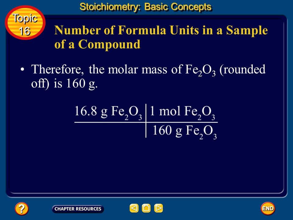 The mass of a quantity of iron(III) oxide is 16.8 g.