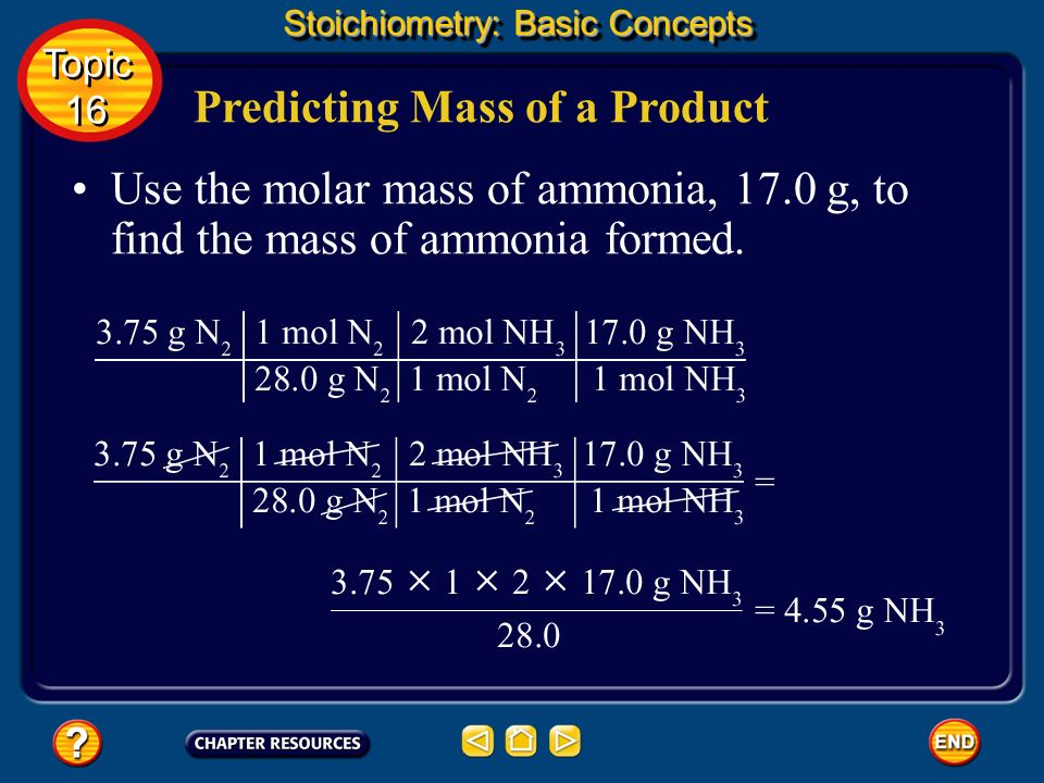 Predicting Mass of a Product Stoichiometry: Basic Concepts Topic 16 Topic 16 To find the mass of ammonia produced, first find the number of moles of ammonia molecules that form from 3.75 g of nitrogen.