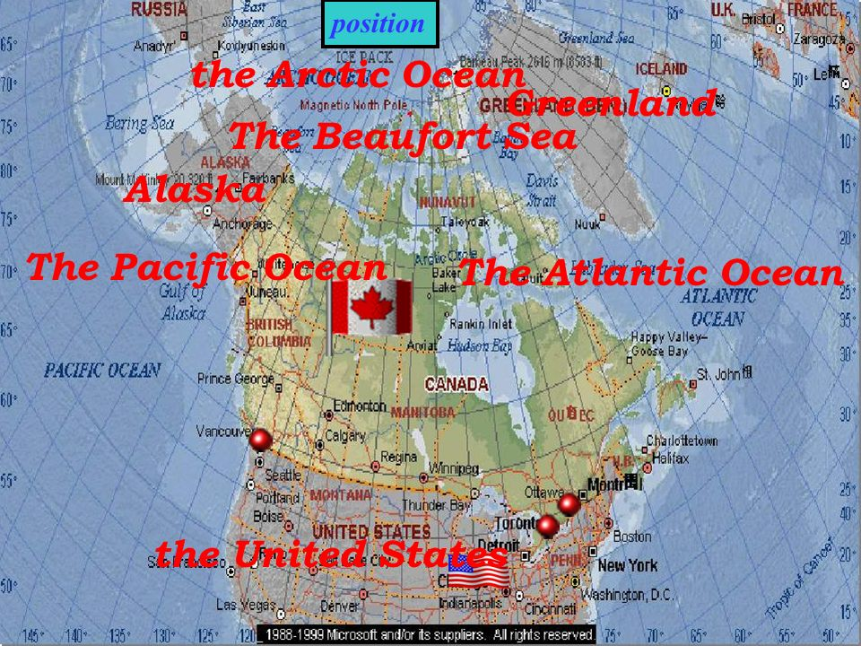 position The Beaufort Sea the Arctic Ocean Greenland The Atlantic Ocean The Pacific Ocean Alaska the United States