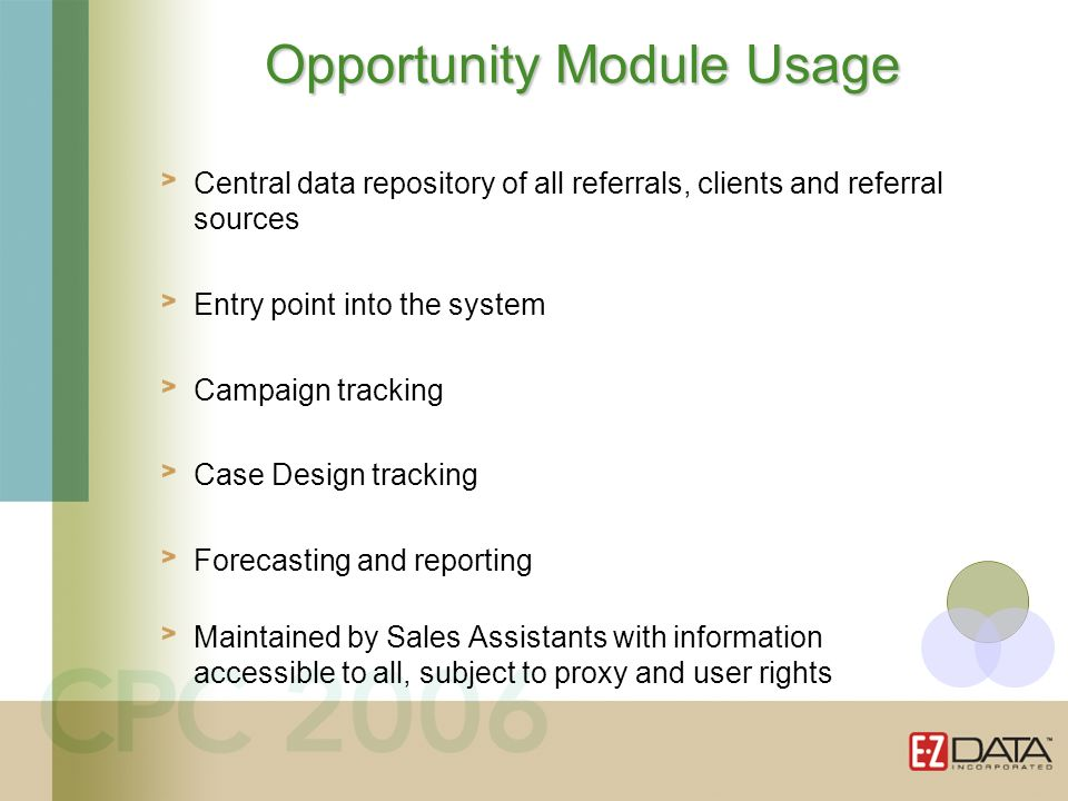 Central data repository of all referrals, clients and referral sources Entry point into the system Campaign tracking Case Design tracking Forecasting