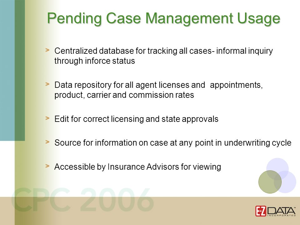 Centralized database for tracking all cases- informal inquiry through inforce status Data repository for all agent licenses and appointments, product,