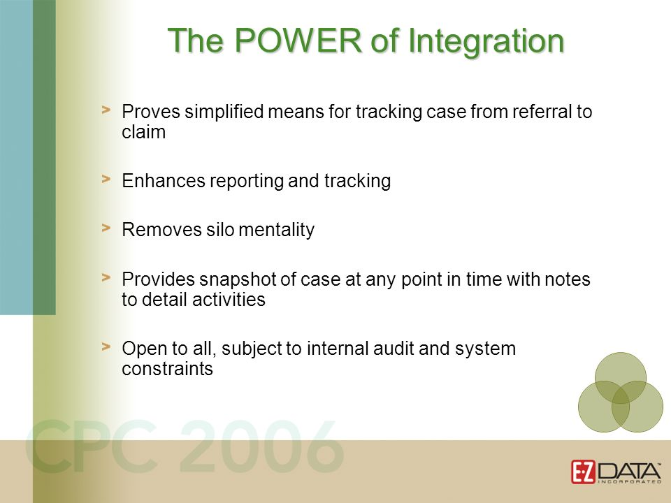 Proves simplified means for tracking case from referral to claim Enhances reporting and tracking Removes silo mentality Provides snapshot of case at any point in time with notes to detail activities Open to all, subject to internal audit and system constraints The POWER of Integration