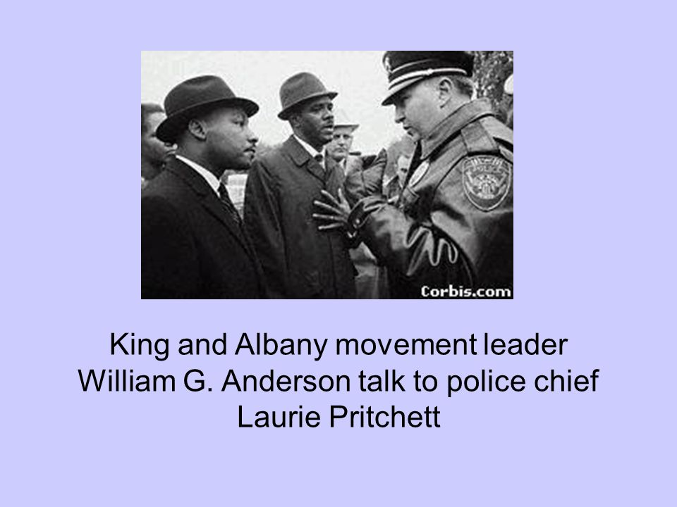 King and Albany movement leader William G. Anderson talk to police chief Laurie Pritchett