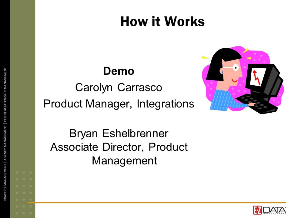 How it Works Demo Carolyn Carrasco Product Manager, Integrations Bryan Eshelbrenner Associate Director, Product Management