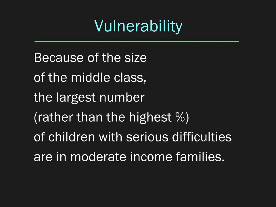 Vulnerability Because of the size of the middle class, the largest number (rather than the highest %) of children with serious difficulties are in mod