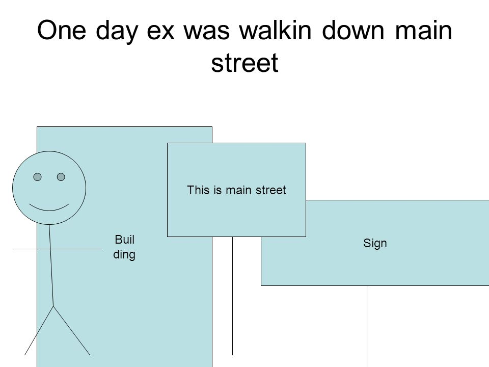 One day ex was walkin down main street Sign Buil ding This is main street