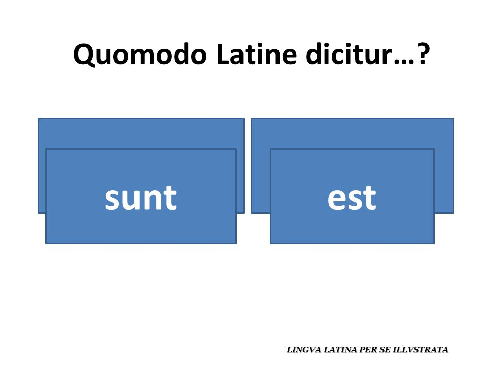 Quomodo Latine dicitur… LINGVA LATINA PER SE ILLVSTRATA es / estáson / están estsunt