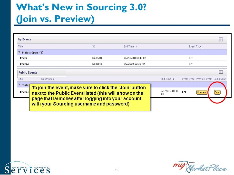 Whats New in Sourcing 3.0? (Join vs. Preview) This area will include a short description of the event. Event 1 Event 2 Event 3 To join the event, make