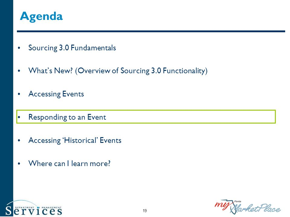 Agenda Sourcing 3.0 Fundamentals Whats New? (Overview of Sourcing 3.0 Functionality) Accessing Events Responding to an Event Accessing Historical Even