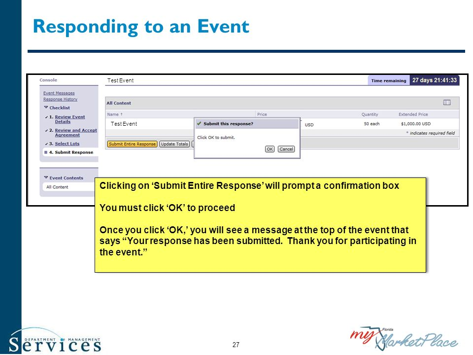 Responding to an Event Test Event Clicking on Submit Entire Response will prompt a confirmation box You must click OK to proceed Once you click OK, yo
