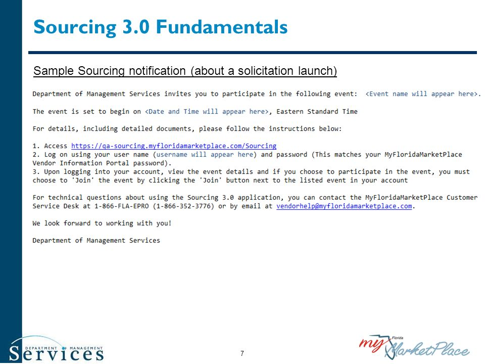Sourcing 3.0 Fundamentals Sample Sourcing notification (about a solicitation launch) 7