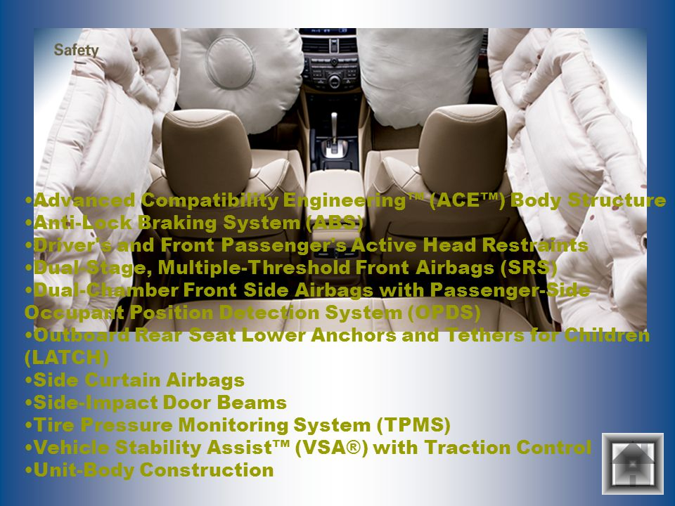 Advanced Compatibility Engineering (ACE) Body Structure Anti-Lock Braking System (ABS) Driver's and Front Passenger's Active Head Restraints Dual-Stag