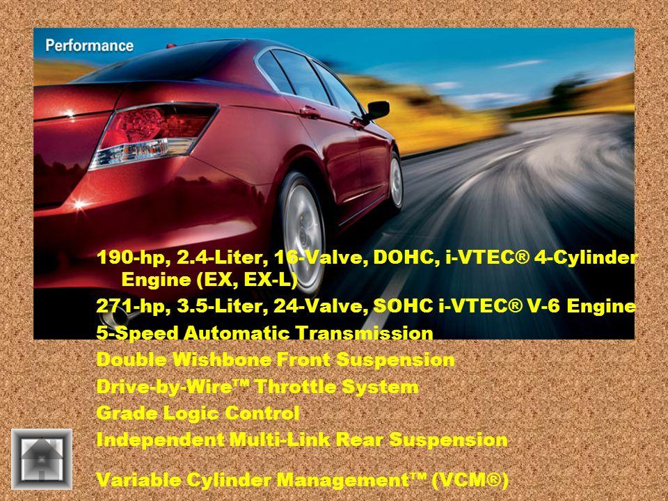 190-hp, 2.4-Liter, 16-Valve, DOHC, i-VTEC® 4-Cylinder Engine (EX, EX-L) 271-hp, 3.5-Liter, 24-Valve, SOHC i-VTEC® V-6 Engine 5-Speed Automatic Transmi