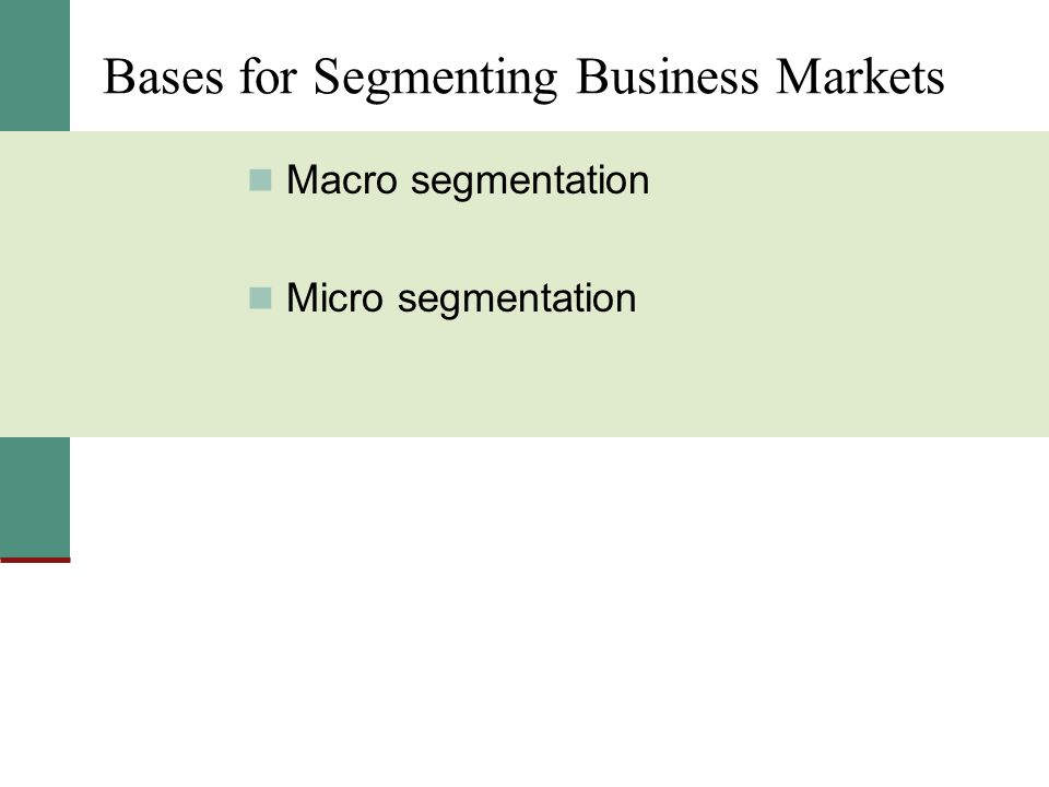 Bases for Segmenting Business Markets Macro segmentation Micro segmentation