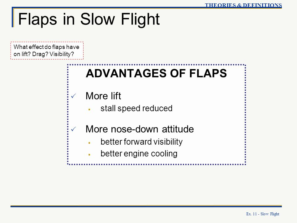 Ex. 11 - Slow Flight Flaps in Slow Flight THEORIES & DEFINITIONS What effect do flaps have on lift? Drag? Visibility? ADVANTAGES OF FLAPS More lift st