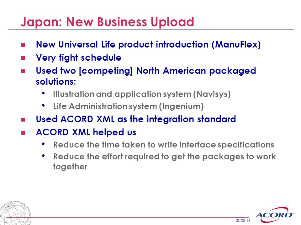 SLIDE 31 Japan: New Business Upload New Universal Life product introduction (ManuFlex) Very tight schedule Used two [competing] North American package