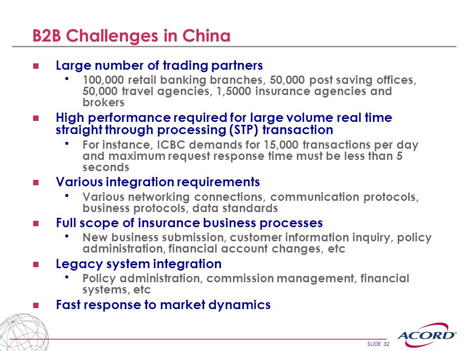 SLIDE 32 B2B Challenges in China Large number of trading partners 100,000 retail banking branches, 50,000 post saving offices, 50,000 travel agencies,