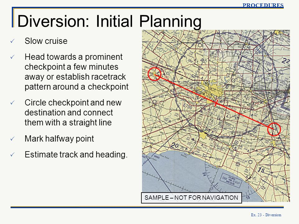 Ex. 23 - Diversion SAMPLE – NOT FOR NAVIGATION Diversion: Initial Planning PROCEDURES Slow cruise Head towards a prominent checkpoint a few minutes aw